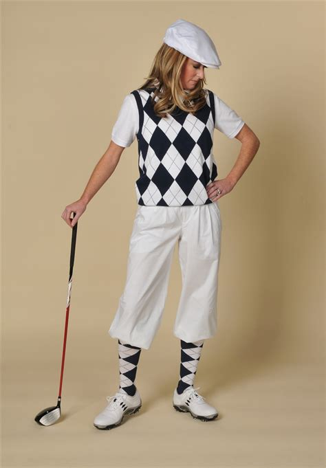 Womenu0026#39;s Golf Outfit - White Knickers Navy White Argyle