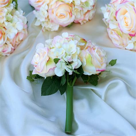 pink real touch artificial rose hydrangea flower wedding