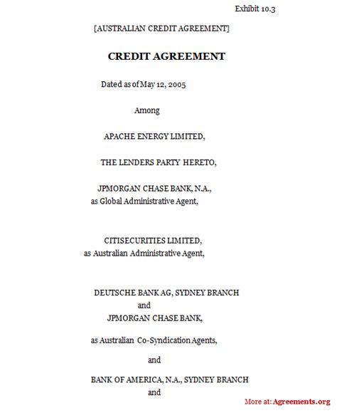 credit agreement sample credit agreement