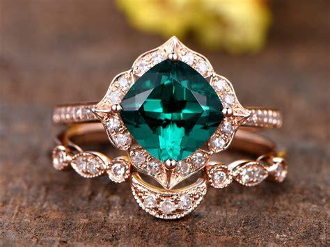 ct cushion cut treated emerald engagement ring setk
