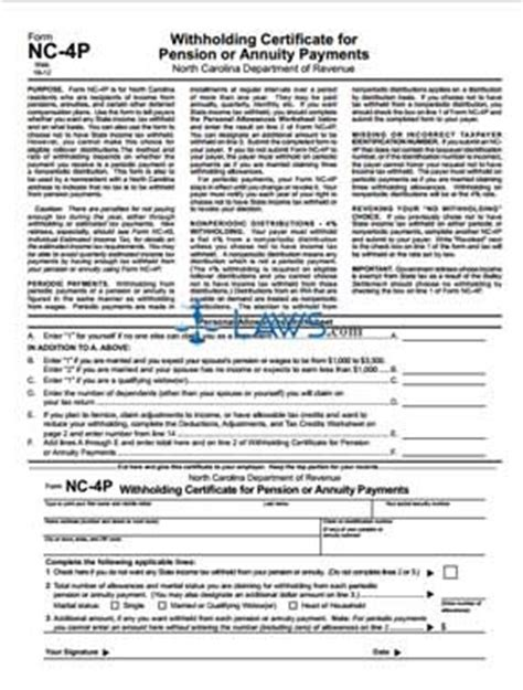 north carolina legal name change form form nc 4p withholding certificate for pension or annuity