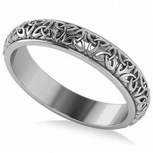 celtic knot infinity wedding band ring 18k white gold With celtic infinity knot wedding ring