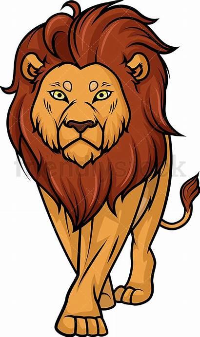 Lion Cartoon Walking Clipart Vector Clip Illustration