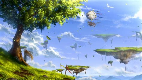 Tree Anime Wallpaper - anime birds leaves trees floating island