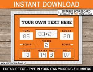 diy photo backdrop printable basketball party scoreboard backdrop