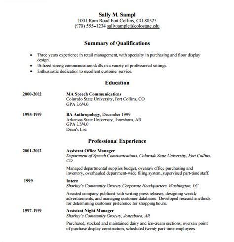 Retail Resume Template by 10 Sle Retail Resumes Sle Templates