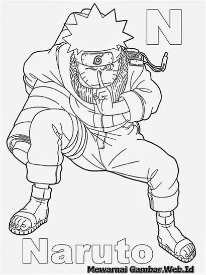 Huruf Mewarnai Sketsa Naruto Gambar Belajar Menulis