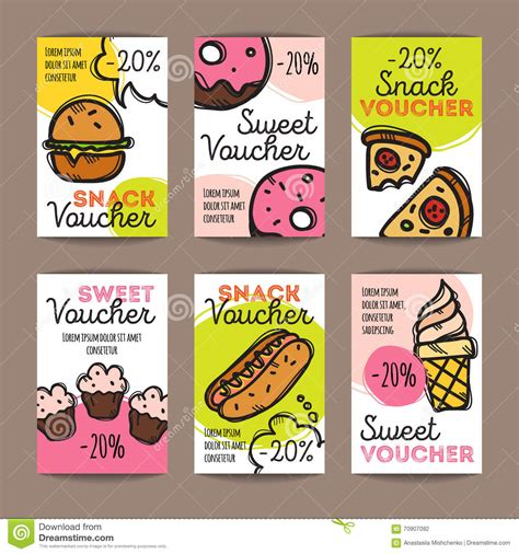 promo cuisine vector set of discount coupons for fast food and desserts