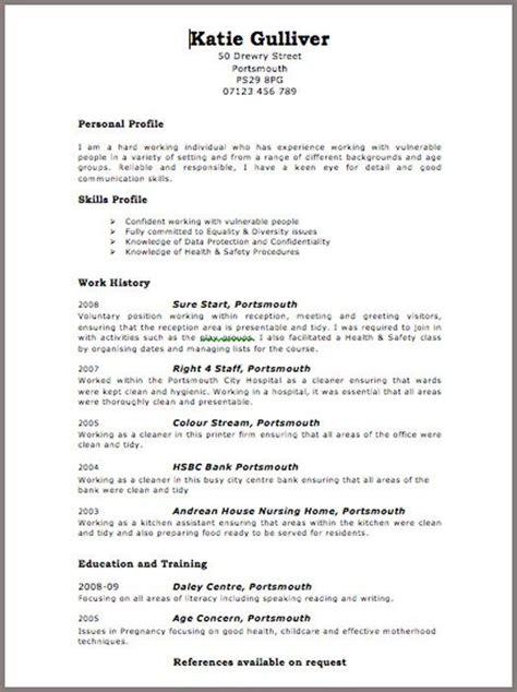 Cv Uk by Curriculum Vitae Format For Uk Curriculum Vitae Exle