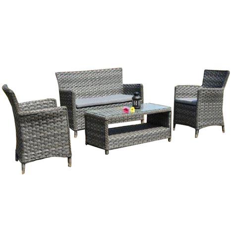 canapé 2 fauteuils salon de jardin naples résine tressée gris vieilli table