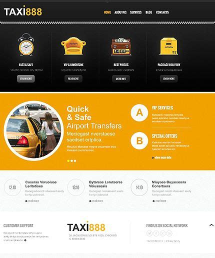 airport template free web template 45274 yellow and black taxi responsive joomla