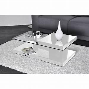 Table Basse Blanche Et Verre : table basse blanc laqu et verre design en image ~ Preciouscoupons.com Idées de Décoration