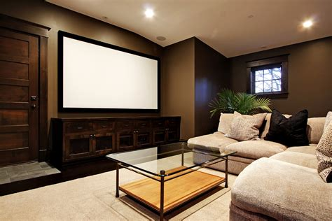 Media Room : Low Profile Media Consoles In The Living Room To Keep Your