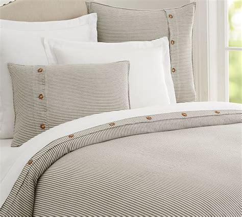 wheaton stripe duvet cover sham flax pottery barn