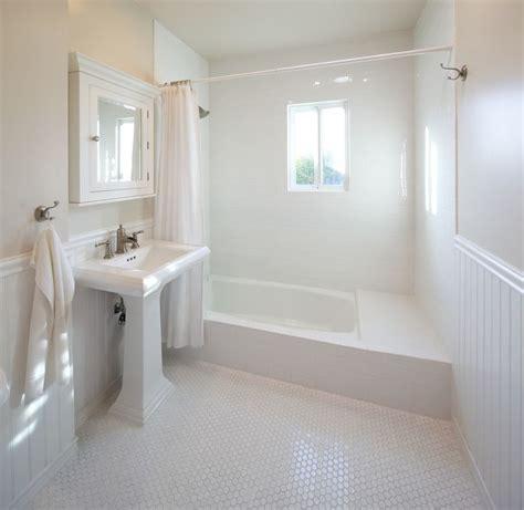 Beadboard And Tile by White Beadboard Floor Tile Bath