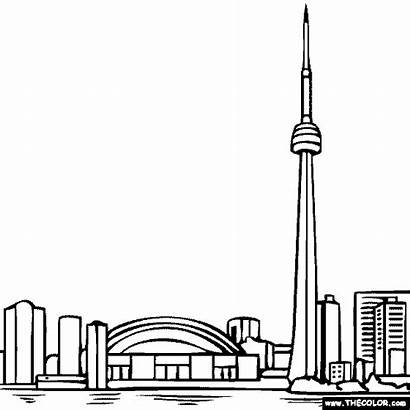 Toronto Tower Coloring Cn Pages Canada Ontario