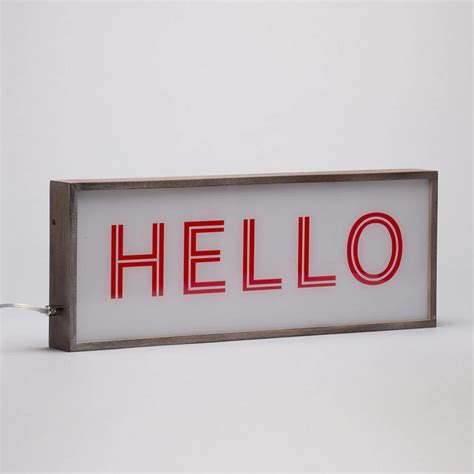hello light box with rustic frame red white from litecraft