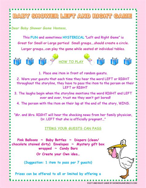 Left Right Story For Baby Shower by Left And Right Baby Shower