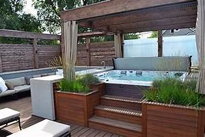 15 hot tub deck surround ideas hottubworks spa hot tub With whirlpool garten mit bonsai schalen set