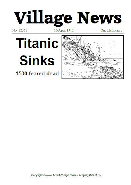 titanic newspaper worksheets