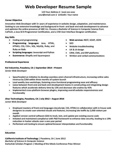 Web Developer Resume Exles by Web Developer Resume Sle Writing Tips Resume Companion