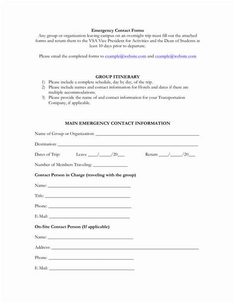 employee emergency contact form word ufreeonline template