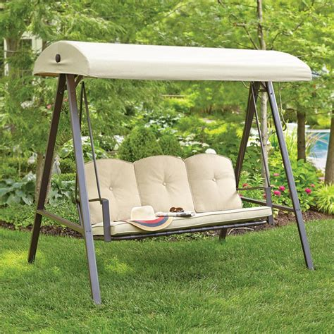 canap swing hton bay cunningham 3 person metal outdoor swing with