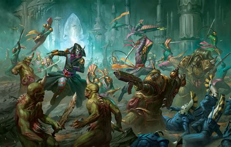 Hello everyone , what do you think about it ? Wallpaper chaos, eldar, battle, demons, Warhammer 40 000 ...