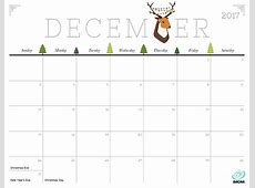 December 2017 Calendar Cute 2018 calendar with holidays