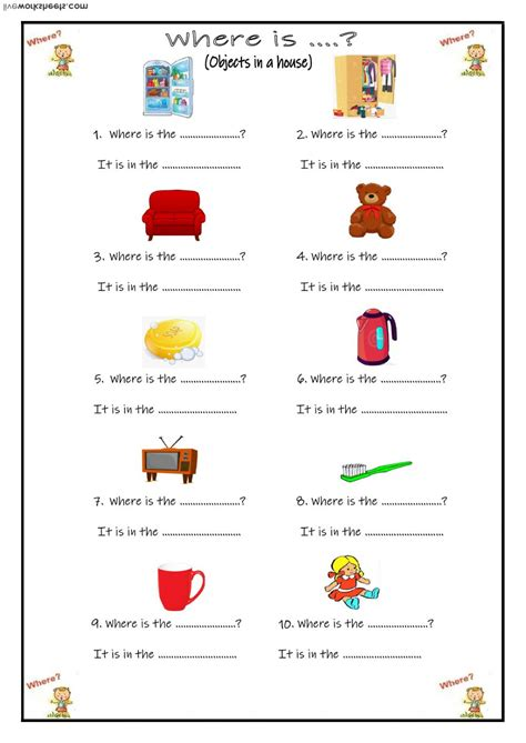 objects   house interactive worksheet