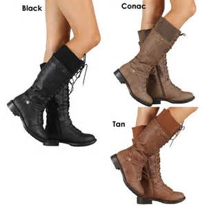 womens boots fashion womens combat fashion boots lace up knee high low flat heel boot ebay