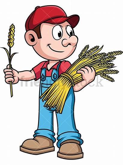 Farmer Wheat Harvesting Cartoon Clipart Vector Farm