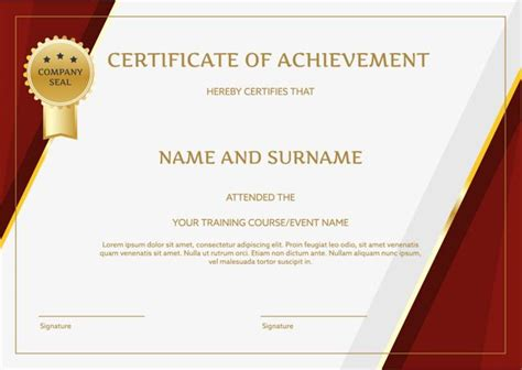 red border english certificate certificate template