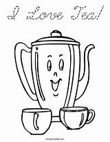 Tea Coloring Teapot Pages Colouring Sheets Party Pot Cursive Happy Noodle Adults Coffee Cups Afternoon Twisty Birthday Ice Twistynoodle Iced sketch template
