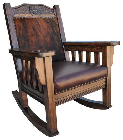 Cowhide Rocking Chair - western rocking chair cowhide southwestern