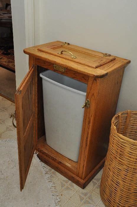 estatesalesnet oak wooden trash  holder ice box replica home decorating id