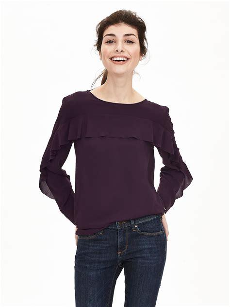 banana republic blouses banana republic ruffle front blouse in purple