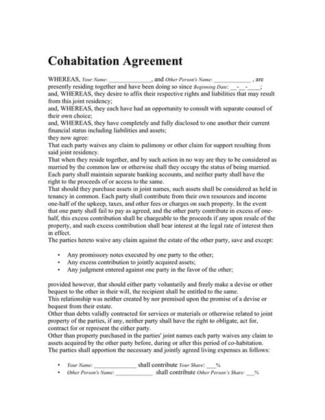 cohabitation agreement   documents