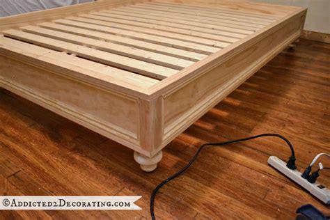 make a bed frame diy stained wood raised platform bed frame part 2