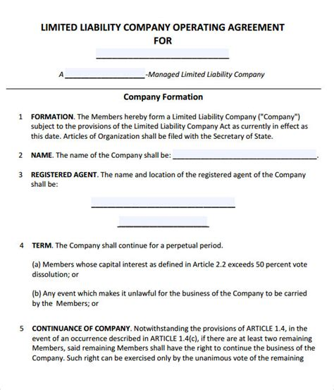 llc operating agreement template sample  sniffer