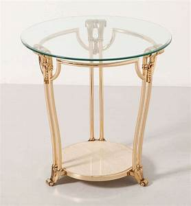 Gilded brass coffee side table with round glass topitaly for Round brass and glass coffee table
