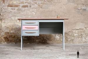 Bureau Enfant Scandinave : bureau vintage 3 tiroirs rose et gris pieds compas ~ Teatrodelosmanantiales.com Idées de Décoration