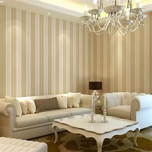 Beige vertical stripe 9 gold wallpaper brief modern non ...