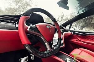 Custom Tesla Model X With Bentley Red Interior Selling For $180K   Carscoops