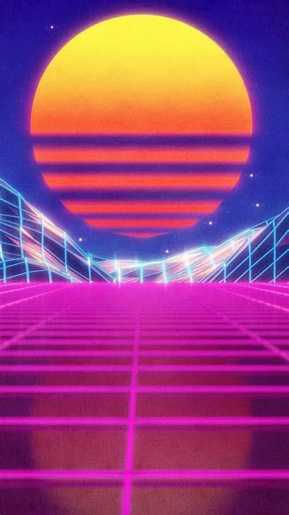 Retro Iphone Wallpapers Aesthetic Neon Wave 80s