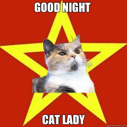 Cat Meme Ladies - good night cat lady lenin cat quickmeme