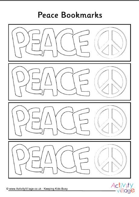 peace colouring bookmarks