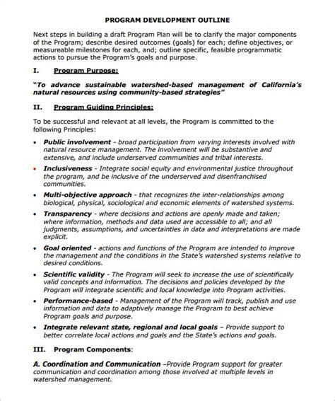 program plan template 8 program outline templates doc pdf free premium templates