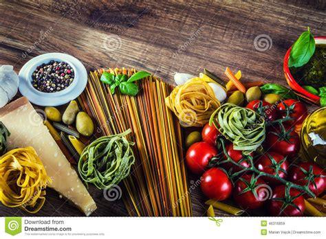 Italian And Mediterranean Food Ingredients On Old Wooden