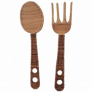 jumbo size rattan fork spoon kitchen wall decor chairish With best brand of paint for kitchen cabinets with spoon and fork wall art